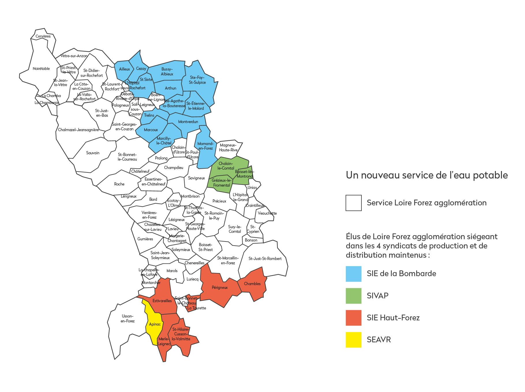 carte du service de l'eau potable Loire Forez agglo