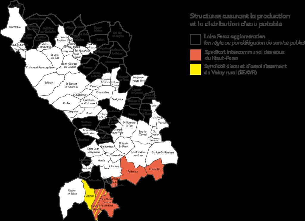 Structures assurant la production et la distribution d'eau potable sur le territoire de Loire Forez agglomération